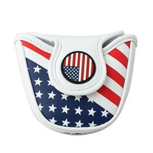 セレクトプラザ USA パターカバー アメリカフラグ マレットタイプ対応 マグネット付け PUレザー ホワイト|cgrt