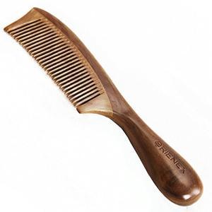Orienex 高級木製櫛 ヘアブラシ ヘアコーム 静電気防止 頭皮マッサージ 天然緑檀(並歯緑檀)