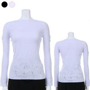 ●デコルテ部分には透け感のあるメッシュ柄を、身頃は透け感の少ない編地を配した、1枚でも着用しやすいデ...