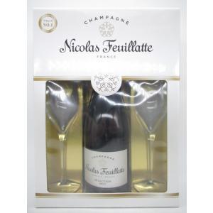 ニコラ・フィアット ホワイトラベル ブリュット 750ml 特製シャンパングラス2個付きセット