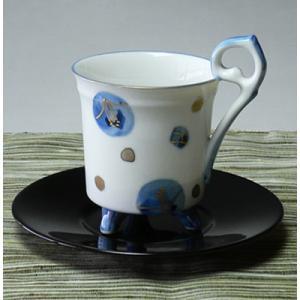 美濃焼染付椿レトロコーヒーカップ(青色)|chagokorochaya