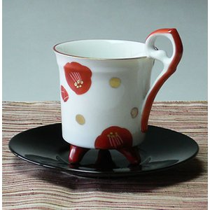 美濃焼赤絵椿レトロコーヒーカップ(赤色)|chagokorochaya