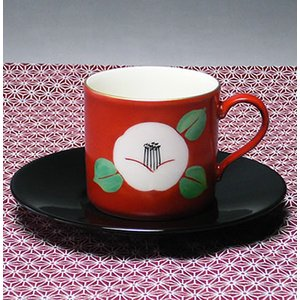 美濃焼朱地白椿コーヒーカップ(朱白色)|chagokorochaya