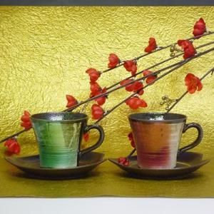 九谷焼銀彩ペアコーヒーカップ(珈琲、紅茶等)(メッセージカードサービスあり)|chagokorochaya