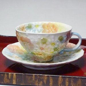 瀬戸焼工房ゆずりは花小道コーヒー碗皿(コーヒーカップ)(メッセージカードサービスあり)|chagokorochaya