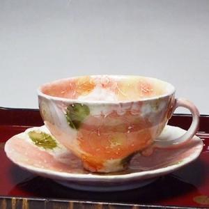 瀬戸焼工房ゆずりはバラ京花コーヒー碗皿(コーヒーカップ)(メッセージカードサービスあり)|chagokorochaya