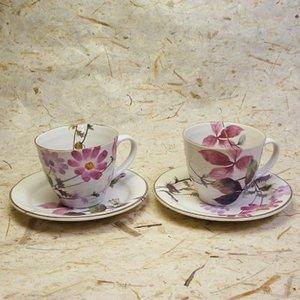 美濃焼花さとペアコーヒーカップ&ソーサーセット(ペアコーヒーカップ、紅茶等)(メッセージカードサービスあり)|chagokorochaya