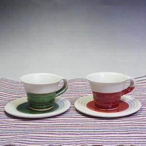 美濃焼オリベ釉・赤釉ペアコーヒーカップ&ソーサーセット(珈琲、紅茶等)(メッセージカードサービスあり)|chagokorochaya