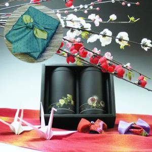 【新茶】【エコファーマー】伊勢玉露・高級煎茶50g×2黒缶入詰合せ一越織柄緑風呂敷ギフト|chagokorochaya