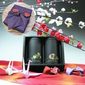 【新茶】【エコファーマー】伊勢玉露・高級煎茶50g×2黒缶入詰合せ一越織柄紫風呂敷ギフト|chagokorochaya