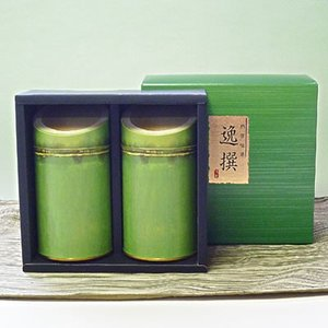 【エコファーマー】伊勢高級かぶせ茶(松)・高級煎茶150g竹割缶入詰合せギフト|chagokorochaya