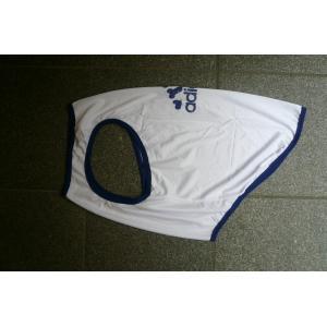 (犬服 ネコポス便)12号adidog メッシュタンク(白×紺) (激安 ドッグウェア Tシャツ)|chaidee-wanwan|03