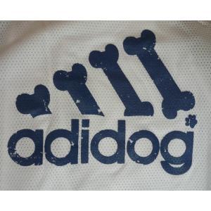 (犬服 ネコポス便)12号adidog メッシュタンク(白×紺) (激安 ドッグウェア Tシャツ)|chaidee-wanwan|05