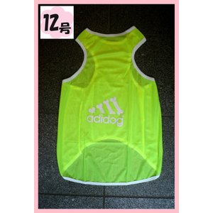 (犬服 ネコポス便)12号adidog メッシュタンク(蛍光ライトグリーン) (激安 ドッグウェア Tシャツ)|chaidee-wanwan