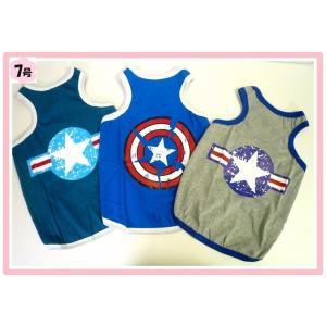 (犬服 ネコポス便)タンクトップ キャプテンアメリカ 7号(激安 ドッグウェア Tシャツ)|chaidee-wanwan