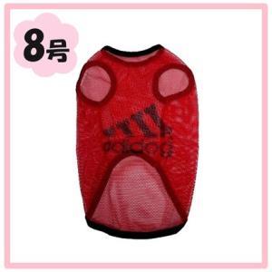 (犬服 ネコポス便) 8号 メッシュTシャツ adidog レッド粗目 (激安 ドッグウェア Tシャツ)|chaidee-wanwan