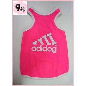(犬服 ネコポス便) 9号 タンクメッシュ ダメージロゴ adidog(蛍光ピンク)  (激安 ドッグウェア Tシャツ)|chaidee-wanwan