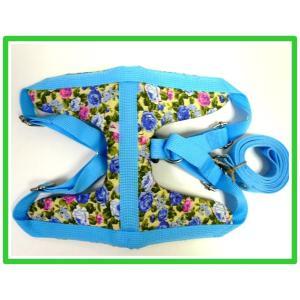 【ハーネス&リード】【ネコポス便】胸当てパット・4号お花ブルー(1)レッド【小〜中型犬用】|chaidee-wanwan