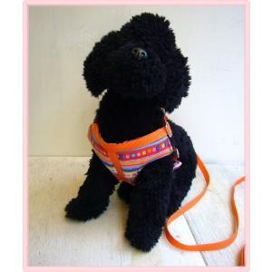 【ハーネス&リード】【ネコポス便】胸当てパット・3号幾何学オレンジ【小型犬用】|chaidee-wanwan