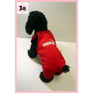 (犬服 ネコポス便)3号コットンオーバーオール Puwan(レッド)(激安 ズボン ロンパース ) chaidee-wanwan