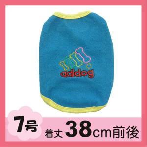 (犬服 ネコポス便) 7号 フリースワンT adidog(青)(激安 ドッグウェア)|chaidee-wanwan