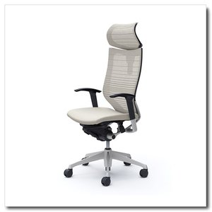 オカムラ オフィスチェア バロン グラデーションサポートメッシュ エクストラハイバック 可動ヘッドレスト アジャストアーム シルバーフレーム|chairkingdom