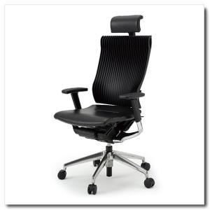 イトーキ オフィスチェア スピーナ エラストマーバックレザーシート エクストラハイバックアジャスタブル肘付 ベースカラーアルミミラー KE-767LA-Z9T1|chairkingdom