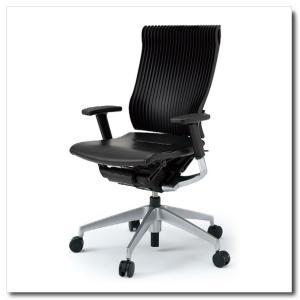 イトーキ オフィスチェア スピーナ エラストマーバックレザーシート ハイバックアジャスタブル肘付 ベースカラーシルバー KE-757LA-Z5T1|chairkingdom