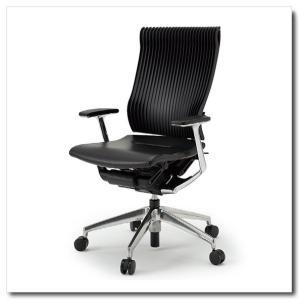 イトーキ オフィスチェア スピーナ エラストマーバックレザーシート ハイバックT型固定肘付 ベースカラーアルミミラー KE-755LA-Z9T1|chairkingdom