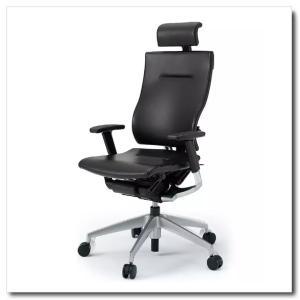 イトーキ オフィスチェア スピーナ レザーバックレザーシート エクストラハイバックアジャスタブル肘付 ベースカラーシルバー KE-727LA-Z5T1|chairkingdom