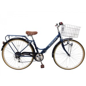 本州送料無料 27インチ 折りたたみ自転車 シティサイクル ジュノープレミア パイプキャリア ブロックライト シマノ6段変速 お客様組立