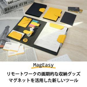 MagEasy 磁気収納手帳 クリップボード A5 バインダー マグネット収納 小物整理 カスタマイズ システム手帳 ビジネス手帳 バインダー ノート付 卓上収納併用|cham-japan