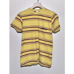LEVI'S VINTAGE CLOTHING リーバイス ヴィンテージ クロージング LVC 1960's STRIPED Tシャツ RAFFIA YELLOW 【ポルトガル製】*SALE 30%OFF chambray-store