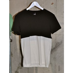 DtE in California ディー・ティー・イー 2TONE SHORT SLEEVE CREW Tシャツ BLACK x BONE (ブラックxオフホワイト)   *SALE40%OFF chambray-store