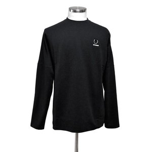 RAF SIMONS x FRED PERRY ラフ・シモンズ x フレッドペリー コラボ SM7065 LONG SLEEVE BACK PRINT TOP BLACK ブラック|chambray-store