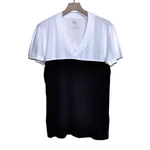 DtE in California ディー・ティー・イー イン カリフォルニア 2TONE SHORT SLEEVE V-NECK Tシャツ WHITExホワイトxブラック *SALE30%OFF chambray-store