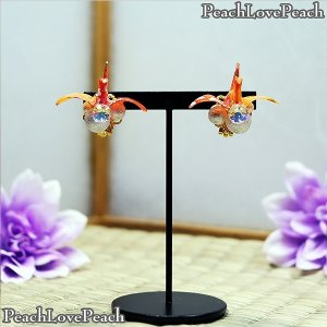 スワロフスキーと友禅和紙の小さな折り鶴の耳飾り イヤリング [ PeachLovePeach ] H...