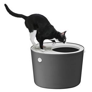 アイリスオーヤマ 上から猫トイレ グレー レギュラー|chan-gaba