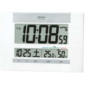 セイコー クロック 掛け時計 置き時計 兼用 電波 デジタル カレンダー 快適度 温度 湿度 表示 薄型 白 パール SQ429W SEIK|chan-gaba