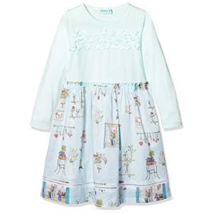 ハッカ キッズ ローン 花 のある部屋 プリント スカート 付き ドッキング ワンピース 02120691 長袖 女の子 女児 ワンピ 1|chan-gaba