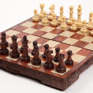 チェス マグネット 木製風 アンティーク ボードを折りたたむと収納可能 日本語説明書付き Mサイズ (24×28センチ)|chan-gaba