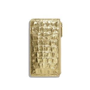 シャネル CHANEL カードケース 名刺入れ パスケース ゴールド メタリック クロコダイル調 型...