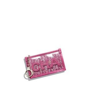 シャネル CHANEL キーケース キーホルダー ポーチ ピンク ツイード PVC ラムスキン