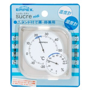 sucre midi 温・湿度計 クリアホワイト 関東当日便|chanet