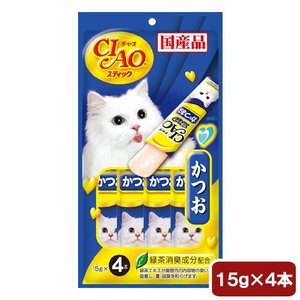 いなば CIAO(チャオ) スティック かつお 15g×4本 キャットフード CIAO チャオ