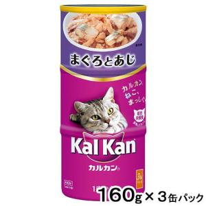 カルカンハンディ缶 1歳から まぐろとあじ 160g×3P 猫フード 成猫用 関東当日便