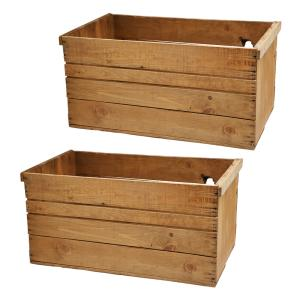 りんご箱 アンティーク仕立て 木箱 ガーデニング DIY素材 訳あり 2箱セット 関東当日便|chanet