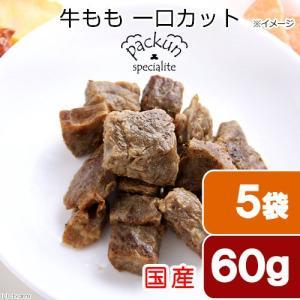 5袋セット 国産 牛もも ひとくちカット 60g 無添加無着色レトルト 犬猫用 Packun Specialite 関東当日便|chanet
