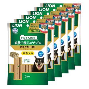 ライオン PETKISS 食後の歯みがきガム プレミアム 中型犬用 5本入り 6袋入り chanet