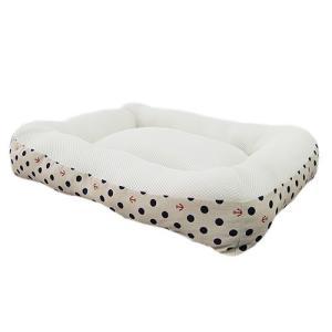アスク マリンドット クッションベッド ブルー 洗えるベッド chanet